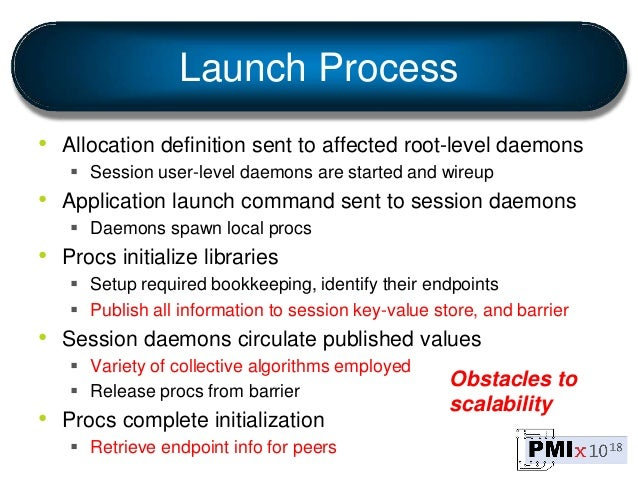 Launch Process • Allocation definition sent to affected root-level daemons  Session user-level daemons are started and wi...