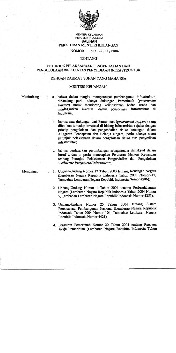 PMK Nomor 38/PMK.01/2006
