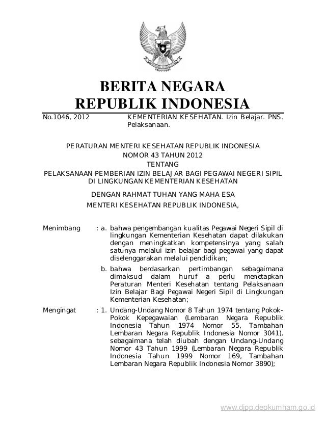 BERITA NEGARA        REPUBLIK INDONESIANo.1046, 2012             KEMENTERIAN KESEHATAN. Izin Belajar. PNS.                ...