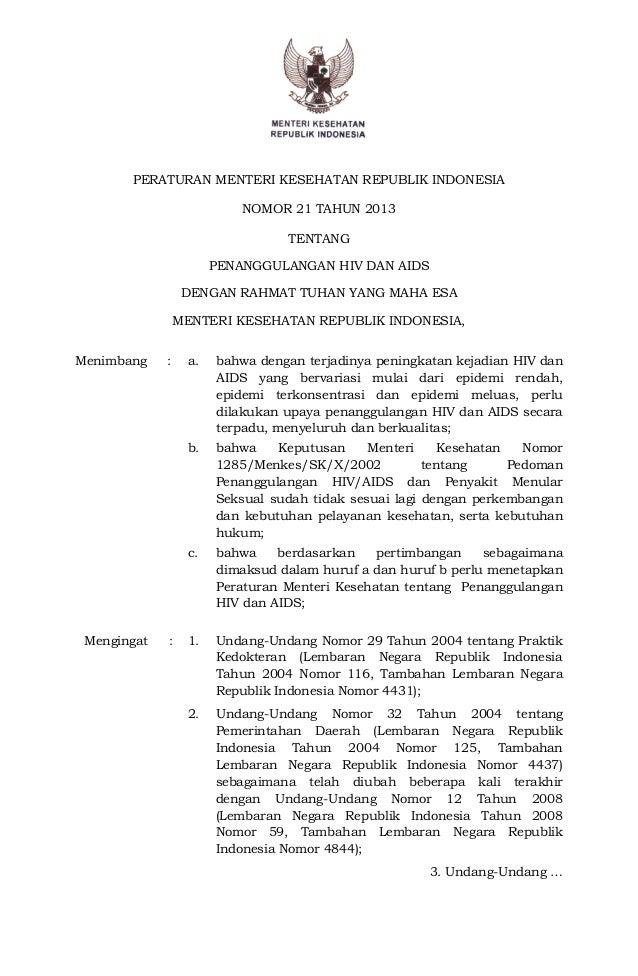 PERATURAN MENTERI KESEHATAN REPUBLIK INDONESIA NOMOR 21 TAHUN 2013 TENTANG PENANGGULANGAN HIV DAN AIDS DENGAN RAHMAT TUHAN...