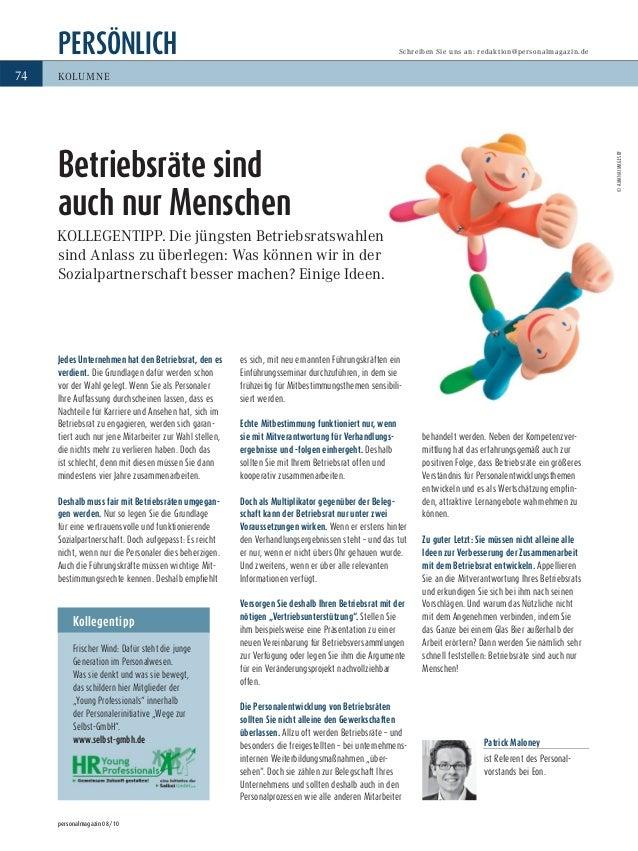 PERSÖNLICH personalmagazin 08/10 74 Schreiben Sie uns an: redaktion@personalmagazin.de KOLUMNE Kollegentipp Frischer Wind:...