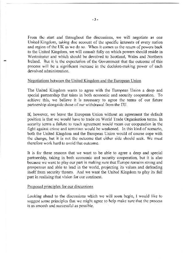 lettre special Brexit: La lettre de Theresa May à Donald Tusk lettre special