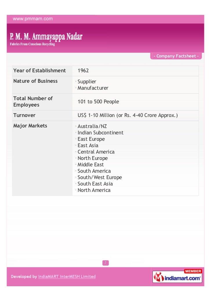 - Company Factsheet -Year of Establishment   1962Nature of Business      Supplier                        ManufacturerTotal...