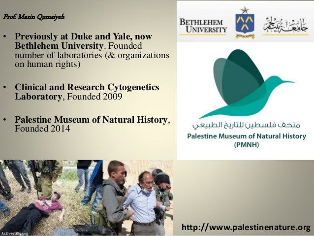 http://www.palestinenature.org Prof. Mazin Qumsiyeh • Previously at Duke and Yale, now Bethlehem University. Founded numbe...