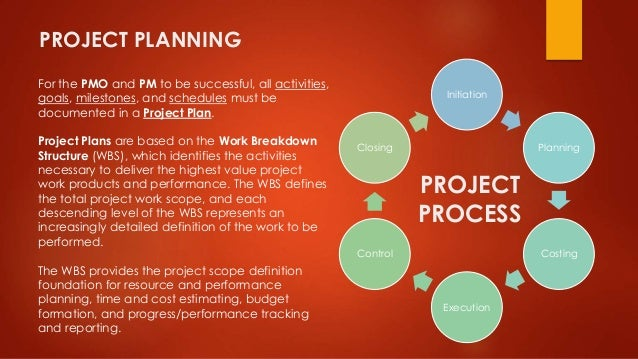 PROJECT PLANNING  For the PMO and PM to be successful, all activities,  goals, milestones, and schedules must be  document...