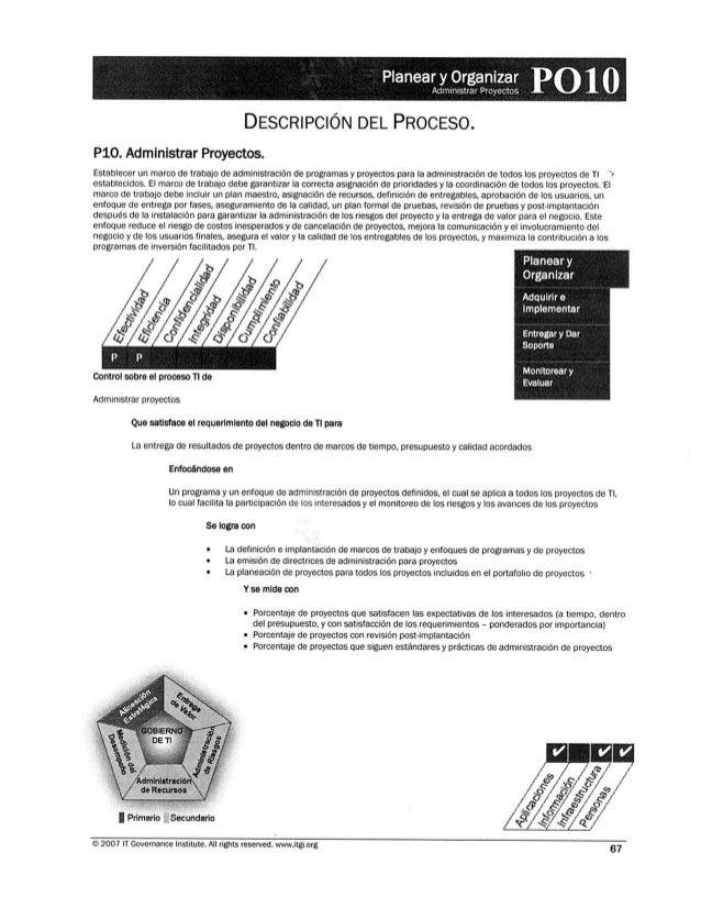 Phmeaïliesïsaïzïïz:  P010 DESCRIPCIÓN DEL PROCESO.  P10. Administrar Proyectos.   Establecer un marco de trabajo de admini...