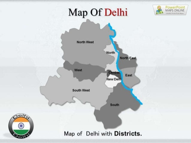 Delhi Map PowerPoint Templates on