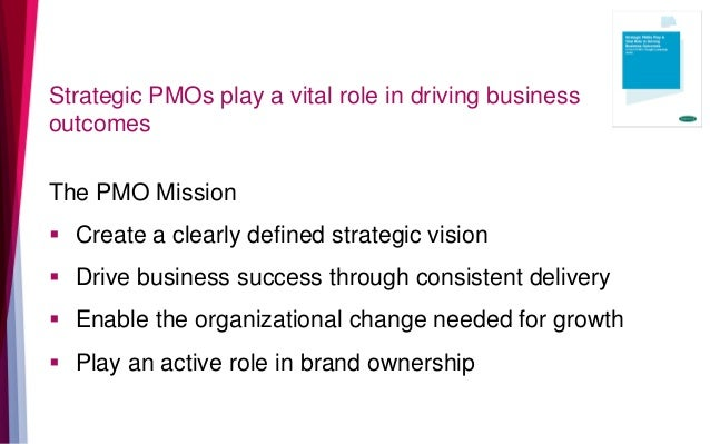 Strategic PMOs play a vital role in driving business outcomes The PMO Mission  Create a clearly defined strategic vision ...