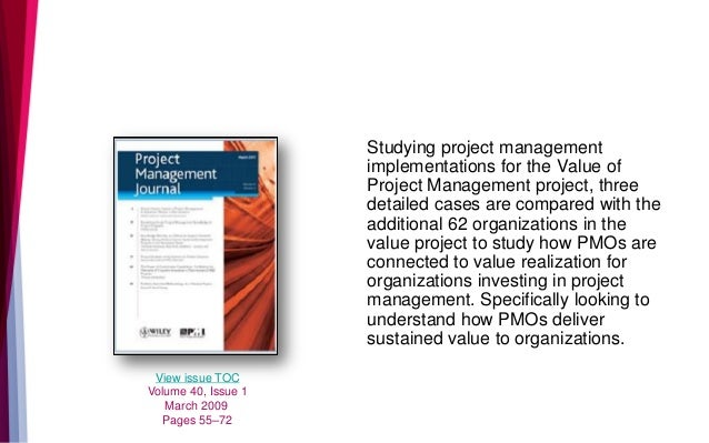 Studying project management implementations for the Value of Project Management project, three detailed cases are compared...