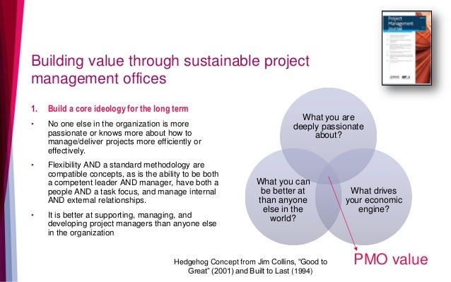 Building value through sustainable project management offices 1. Build a core ideology for the long term • No one else in ...