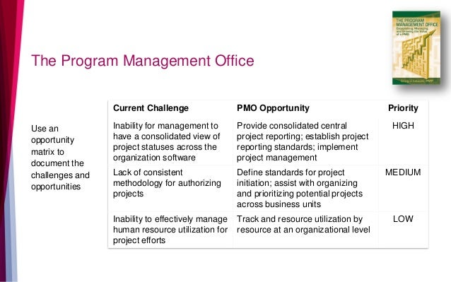The Program Management Office Use an opportunity matrix to document the challenges and opportunities Current Challenge PMO...