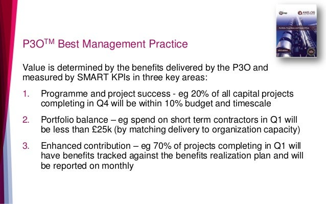 P3OTM Best Management Practice Value is determined by the benefits delivered by the P3O and measured by SMART KPIs in thre...