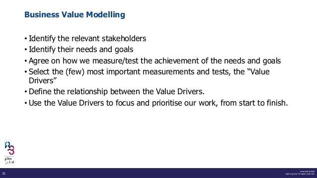 www.p3m.global ©p3m global. All rights reserved.33 Business Value Modelling • Identify the relevant stakeholders • Identif...