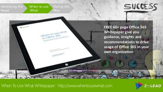 When To Use What Whitepaper: http://www.whentousewhat.com Paving the Way When to use What Identifying the Need FREE 60+ pa...