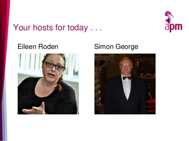 Your hosts for today . . . Simon GeorgeEileen Roden
