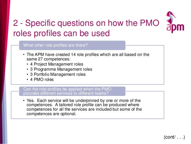 2 - Specific questions on how the PMO roles profiles can be used • The APM have created 14 role profiles which are all bas...