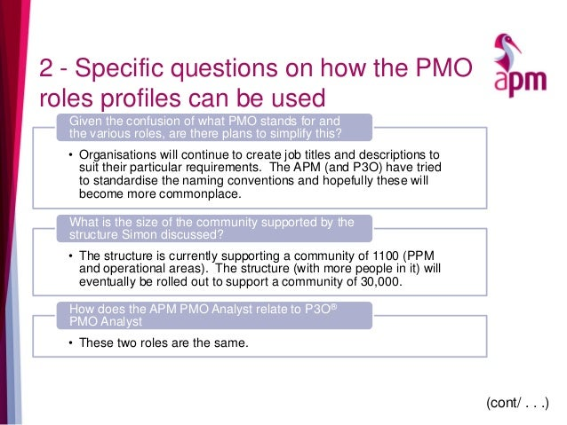 2 - Specific questions on how the PMO roles profiles can be used • Organisations will continue to create job titles and de...