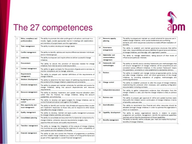 The 27 competences
