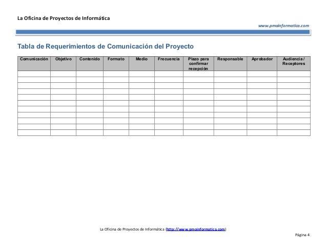 Pmo informatica plantilla de plan de comunicaciones del proyecto