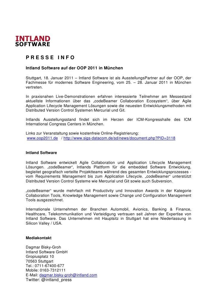 PRESSE INFOIntland Software auf der OOP 2011 in MünchenStuttgart, 18. Januar 2011 – Intland Software ist als AusstellungsP...