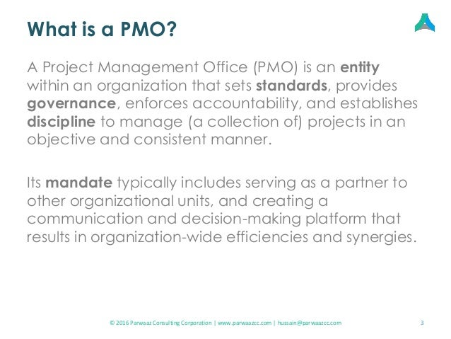 Setting up a Project Management Office (PMO) Slide 3