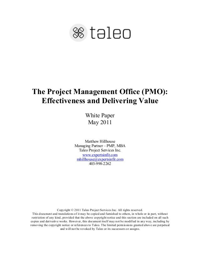 The Project Management Office Effectiveness And Delivering Value