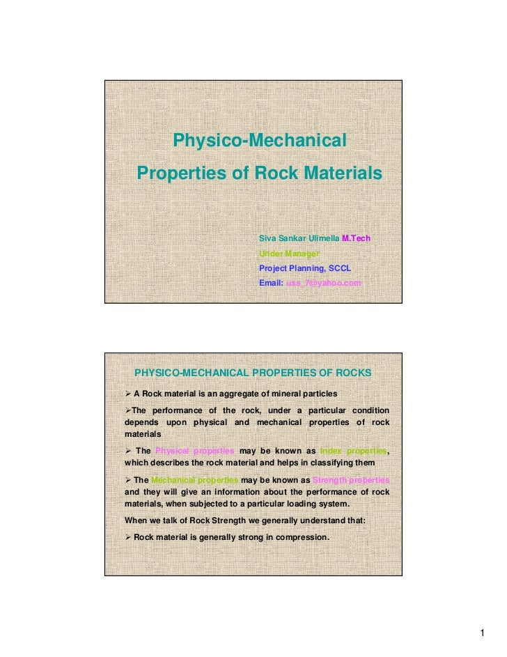 Physico-Mechanical properties of rock materials