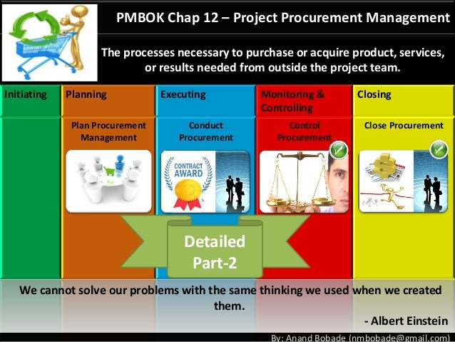 By: Anand Bobade (nmbobade@gmail.com) PMBOK Chap 12 – Project Procurement Management The processes necessary to purchase o...