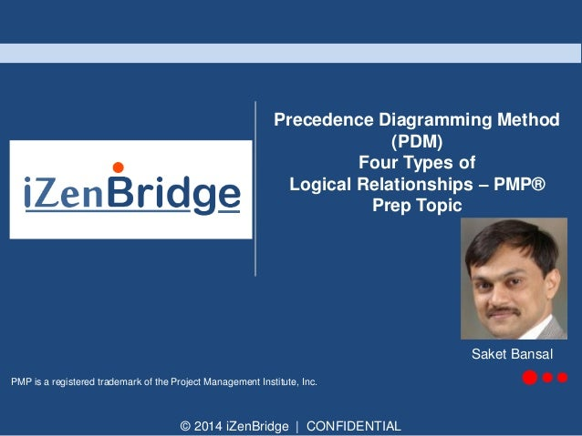 © 2014 iZenBridge   CONFIDENTIAL PMP is a registered trademark of the Project Management Institute, Inc. Precedence Diagra...