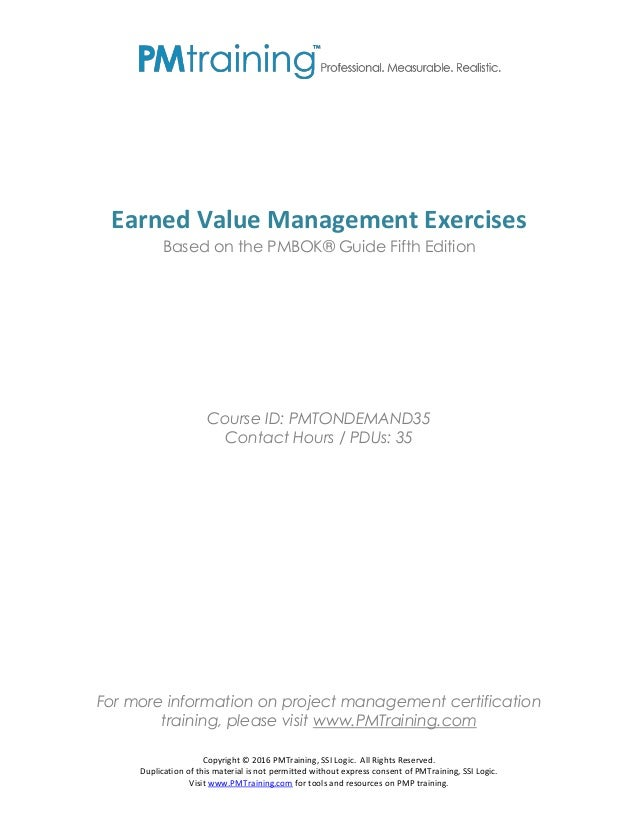 Pmp Earned Value Exercises
