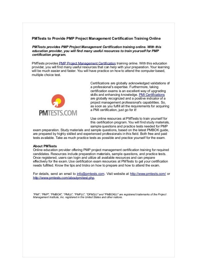 Pmtests To Provide Pmp Project Management Certification Training Onli
