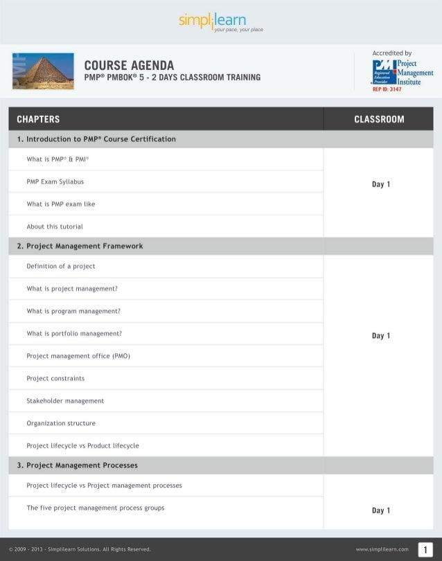 PMP PMBOK 5 Training Materials  Online