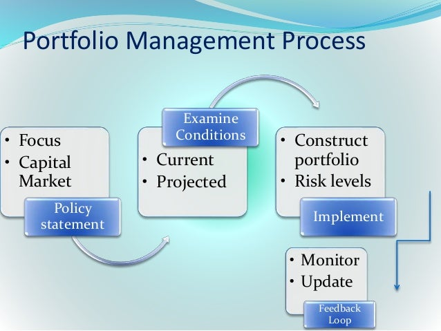 the portfolio management process Portfolio management process is an on-going way of managing a client's portfolio of assets there are various components and sub-components of the process that ensure a portfolio is tailored to meet the client's investment objectives well within his constraints.