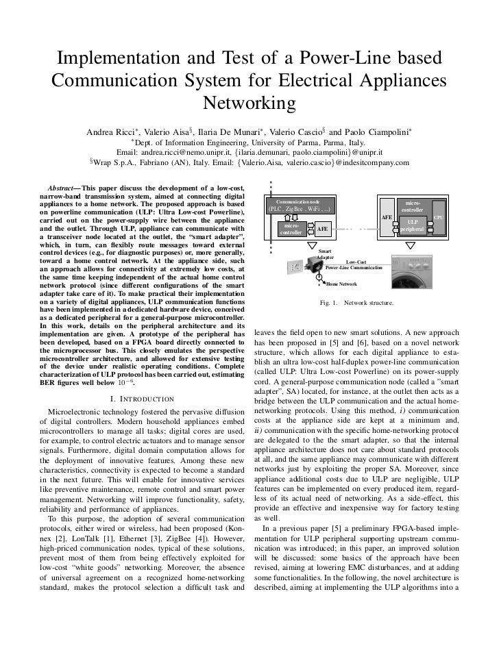 Implementation and Test of a Power-Line based   Communication System for Electrical Appliances                    Networki...