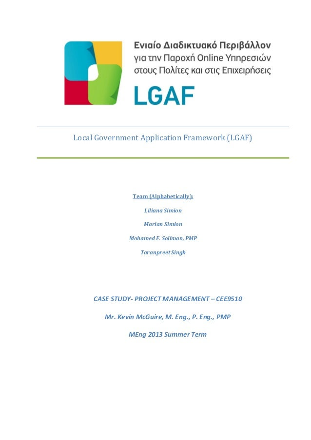 Local Government Application Framework (LGAF) Team (Alphabetically): Liliana Simion Marian Simion Mohamed F. Soliman, PMP ...