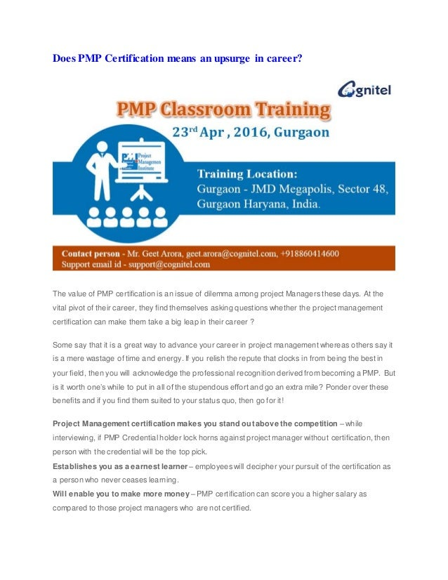 Pmp Certification Classroom Training Gurgaon 23rd April 2016