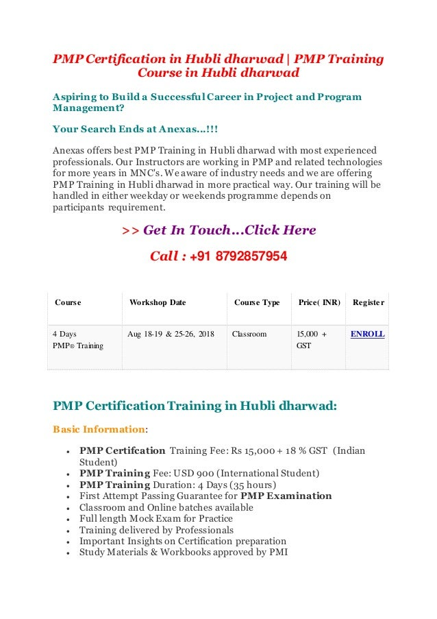 Pmp Certification In Hubli Dharwad