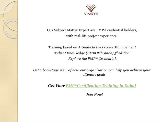 PMP® Training Certification & Course in Dubai | Vinsys