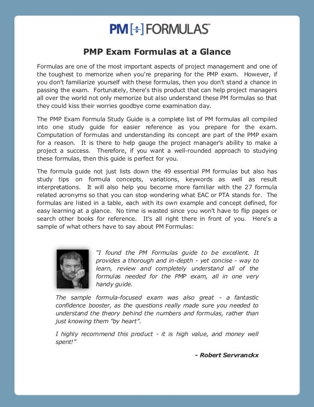 PMP Exam Formulas at a Glance Formulas are one of the most important aspects of project management and one of the toughest...