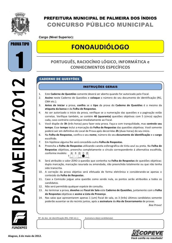 PREFEITURA MUNICIPAL DE PALMEIRA DOS ÍNDIOS                                 CONCURSO PÚBLICO MUNICIPAL                    ...