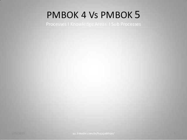 PMBOK 4 Vs PMBOK 5            Processes I Knowledge Areas I Sub Processes1/29/2013               au.linkedin.com/in/hujaja...