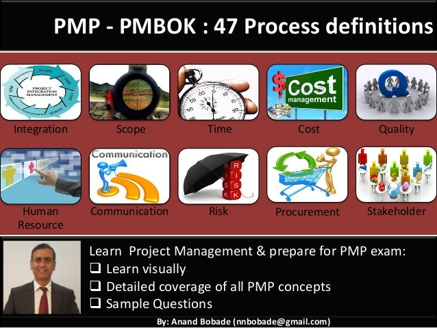 By: Anand Bobade (nnbobade@gmail.com) PMP - PMBOK : 47 Process definitions Integration Scope Time Cost Quality Human Resou...