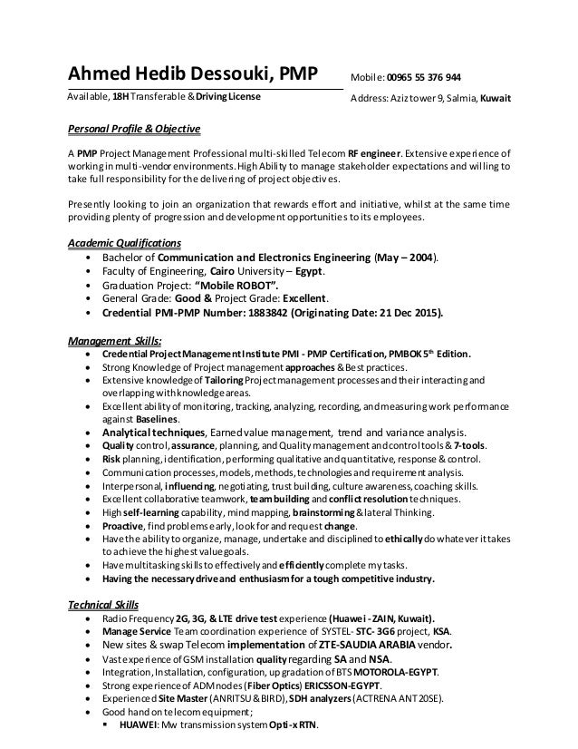 pmp rf engineer resume