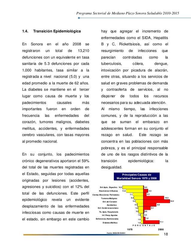 Programa Sectorial de Mediano Plazo Sonora Saludable 2010-2015 18 1.4. Transición Epidemiológica En Sonora en el año 2008 ...