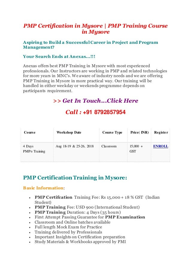 Pmp Training Course In Mysore