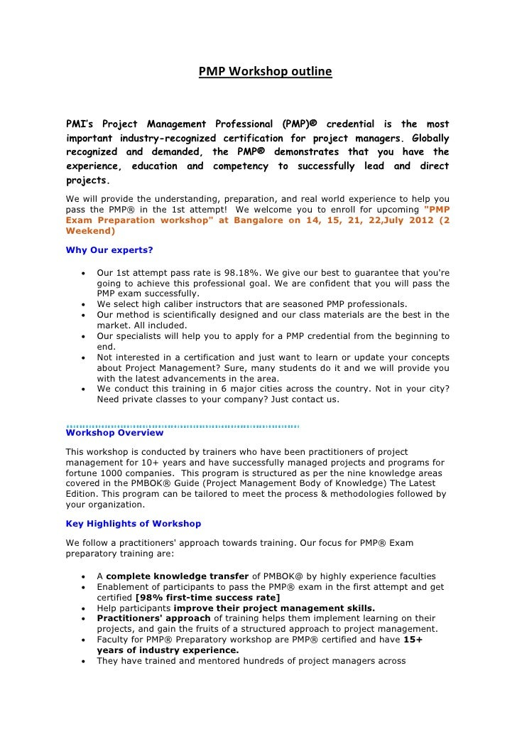 PMP Workshop outlinePMI's Project Management Professional (PMP)® credential is the mostimportant industry-recognized certi...