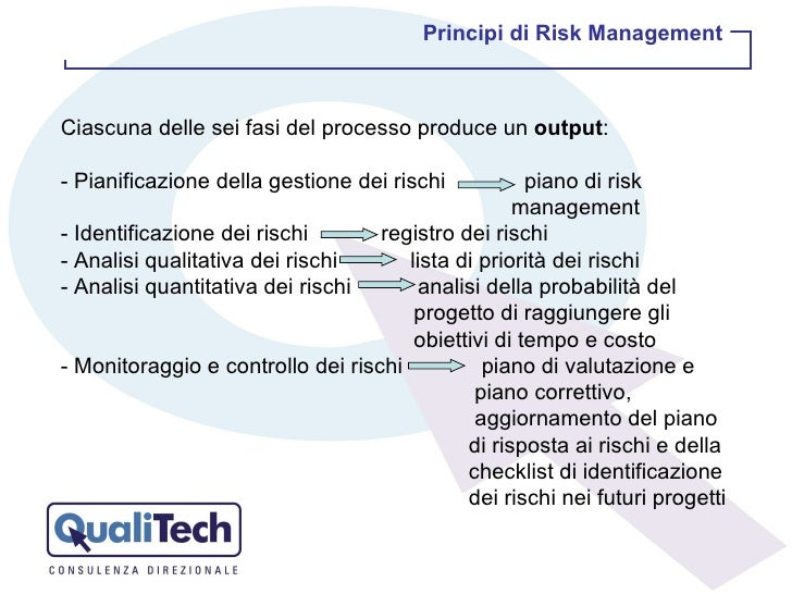 Ciascuna delle sei fasi del processo produce un  output : - Pianificazione della gestione dei rischi  piano di risk    man...