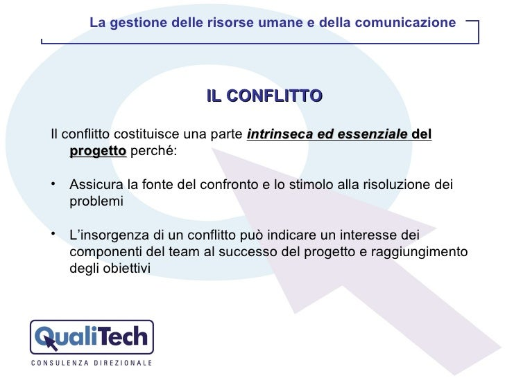 <ul><li>IL CONFLITTO </li></ul><ul><li>Il conflitto costituisce una parte  intrinseca ed essenziale  del progetto  perché:...