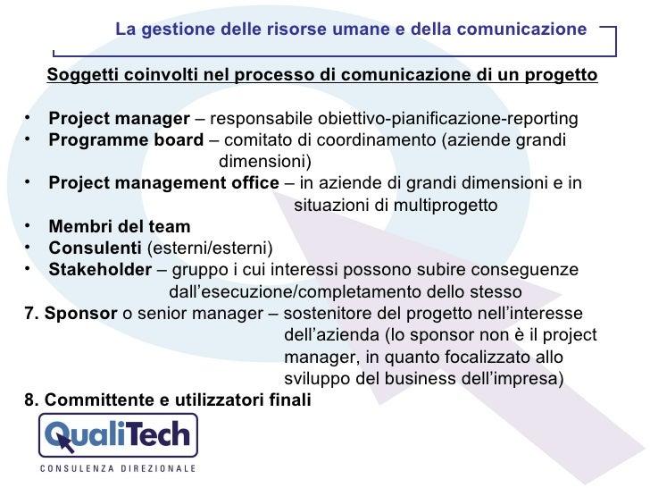 <ul><li>Soggetti coinvolti nel processo di comunicazione di un progetto </li></ul><ul><li>Project manager  – responsabile ...