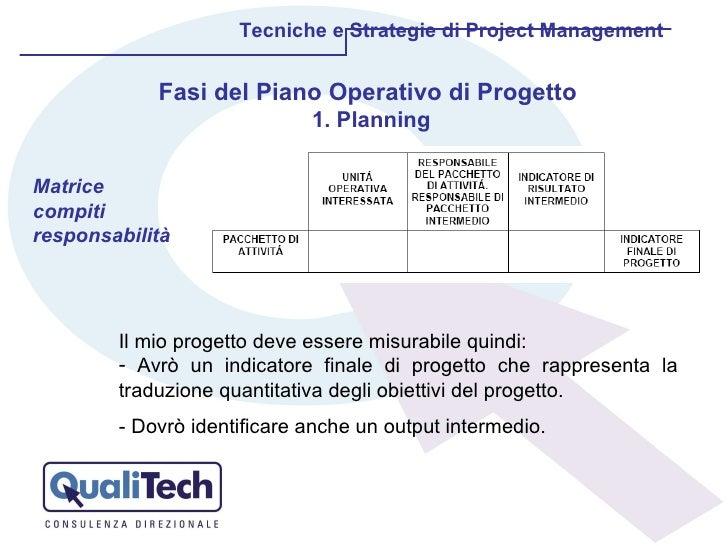 Tecniche e Strategie di Project Management Fasi del Piano Operativo di Progetto  1. Planning Matrice compiti responsabilit...